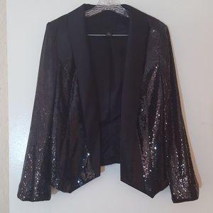 Jackets & Blazers - Black Sequin Dressy Jacket Cover Up